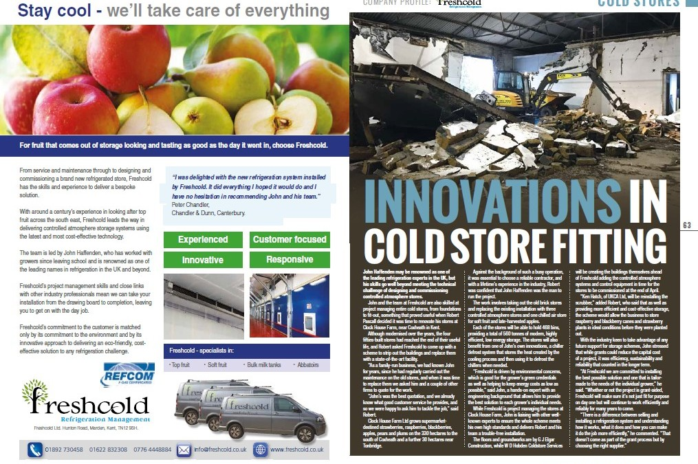 South East Farmer feature: Innovations in Cold Store Fitting